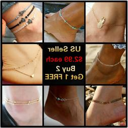 12+ Styles Gold Anklet Ankle Bracelet Foot Chain Heart Beads