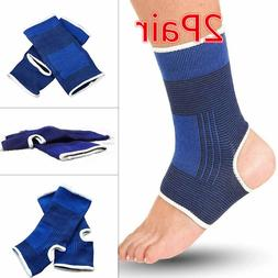 2 Pair ANKLE Support Wrap Elastic Brace Sleeve Muscle Arthri