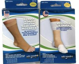 Sportaid Ankle Brace, Nylon Two-Way Stretch, Beige color, Si