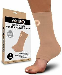 Ankle Brace Compression Sleeve for Men & Women  - Beige /Lar