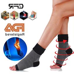 Ankle Sock Compression Support Brace Sleeve Open Toe PLANTAR