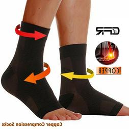 Ankle Support Brace Copper Infused Compression Sleeve Fit Fo
