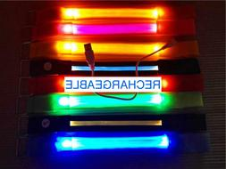 ARM/ANKLE BAND BRACELET RECHARGEABLE LED glow light Safety F