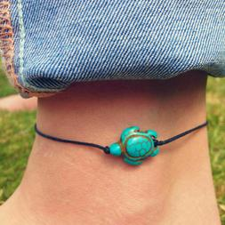 Beach Turtle Charm Rope String Anklets For Women Ankle Leg B