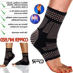 copper ankle support brace arthritis compression sleeve
