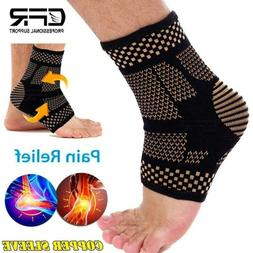 Copper Ankle Support Brace Compression Sleeve Foot Pain Reli