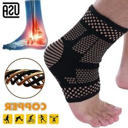 Copper Ankle Support Sleeve Compression Socks Achilles Tendo