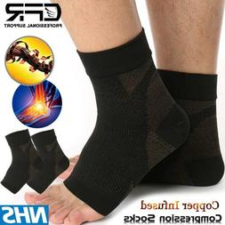Copper Foot Sleeve Compression Ankle Wrap Support Socks Boot