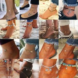 Fashion Lady's Anklet Silver Gold Charm Ankle Chain Bracelet