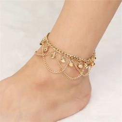 Gold Jingle Ball Anklet Layered Ankle Bracelet Large Long 12