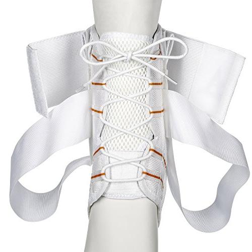 Active Lace Ankle & Support Volleyball, Basketball, with Laces, Compression Socks White, Large