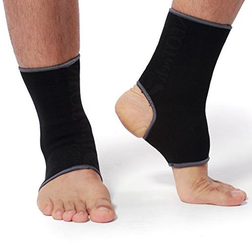 Neotech Ankle Sleeve - Light, Elastic Knitted Compression - For Women, or Left Black Color