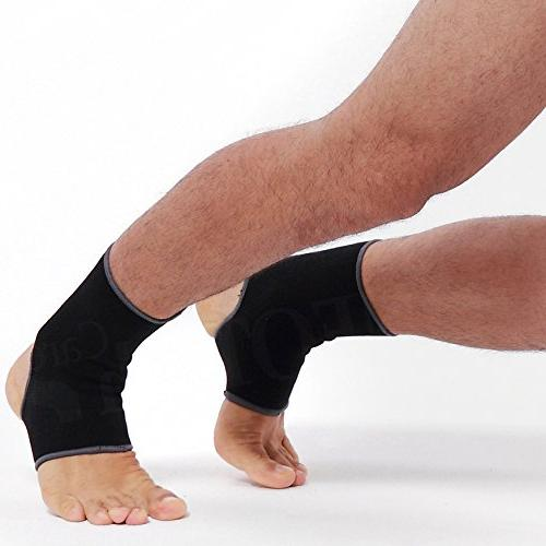 Neotech Ankle Sleeve - Open Light, & Breathable Knitted Fabric Compression For Women, Kids or Left Black