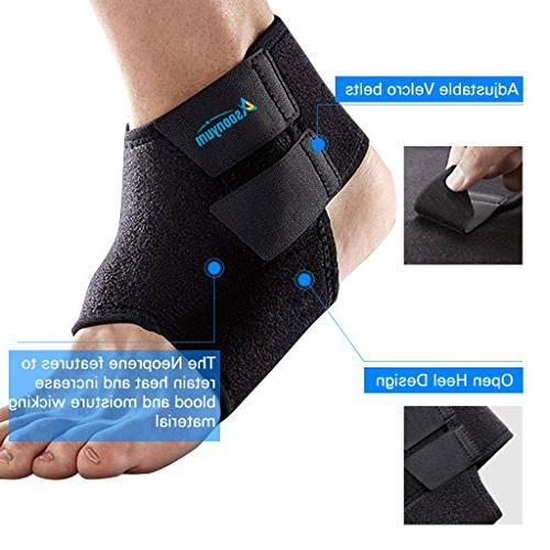 Ankle Support Brace Running Breathable Adjustable for and Black by