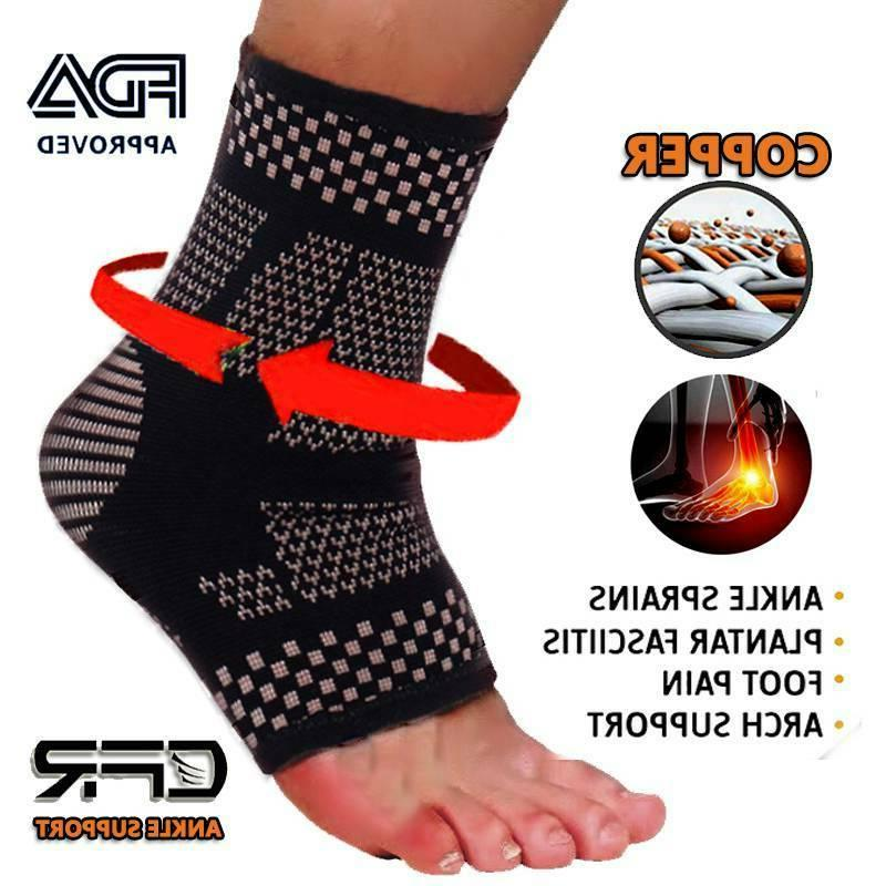 Copper Ankle Support Brace Compression Sleeve Joint Fit Spor