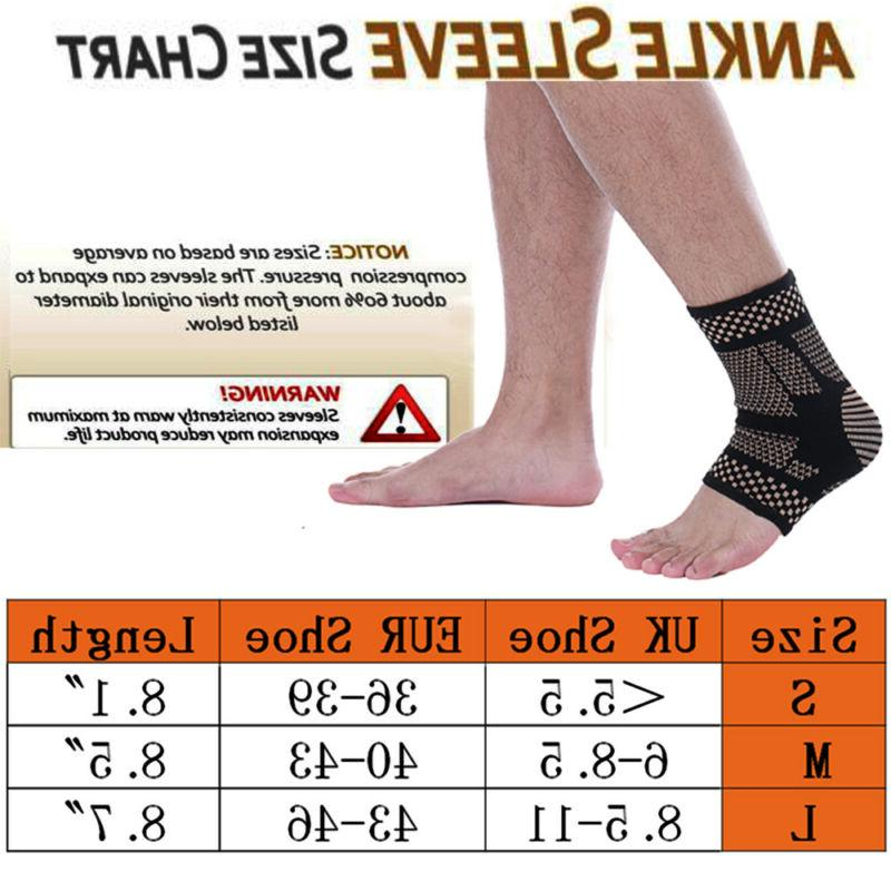 Copper Support Compression Sleeve Foot Socks Sports Pain