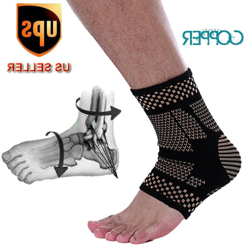 copper ankle support brace compression sleeve foot
