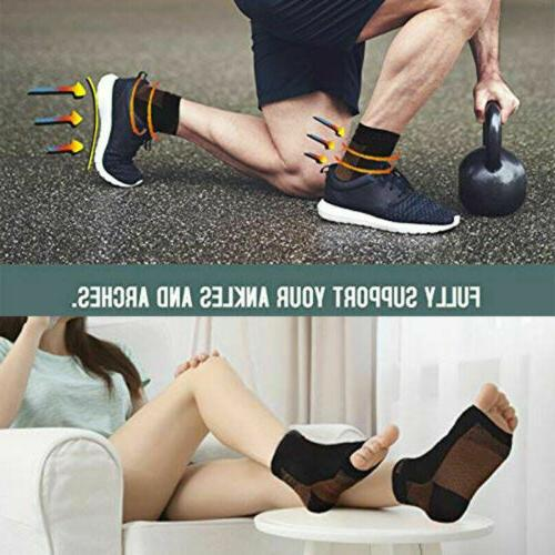 Pairs Copper Compression Relief Foot Sleeve Socks