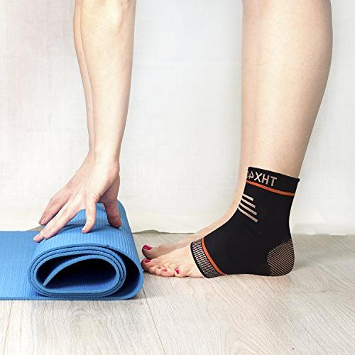 Thx4 Compression Ankle Brace, Silicone Ankle Sleeve Pain from Tendonitis- & Ankle