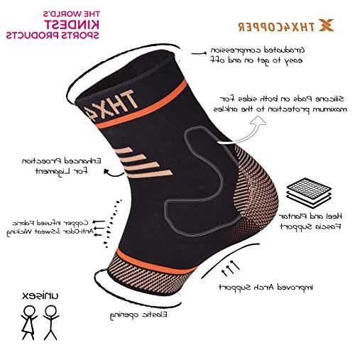 Thx4 Copper Compression Ankle Brace, Sleeve Relief from Plantar Achilles Tendonitis- & Prevent