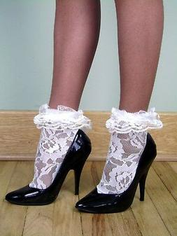 LACE Anklets w/ RUFFLED LACE CUFFS - WHITE