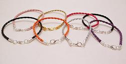 Leather Braided Cord Surfer Bracelet or Anklet with Lobster