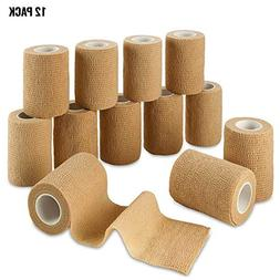 Self Adherent Wrap - Bulk Pack of 12, Athletic Tape Rolls an