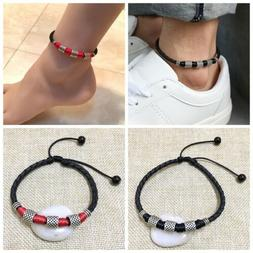 Mens Womens Leather Rope Anklet Ankle Bracelet Barefoot Sandal Beach Foot Chain