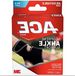 ACE Neoprene Ankle Support One Size Adjustable Black 1/pack