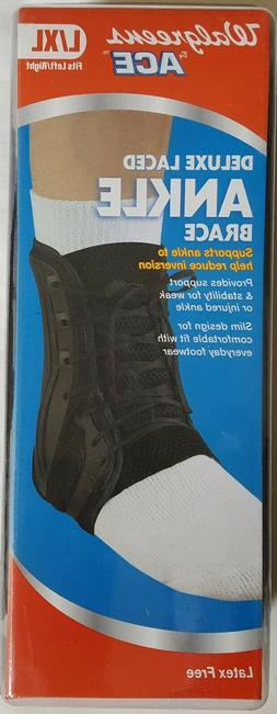 New in Pkg. Walgreens Ace Deluxe Laced  Ankle Brace Latex Fr