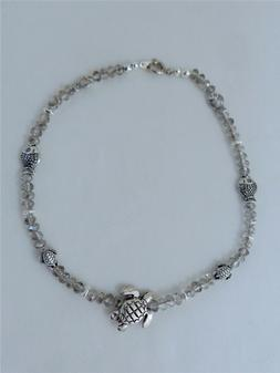 NWOT - CZECH CRYSTAL/ SILVER PLATED TURTLE & FISH ANKLET 11""