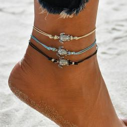 Summer Beach Turtle Charm Rope String Anklets For Women Ankl