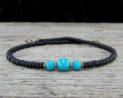 Thin Turquoise Anklet with Black Glass - Turquoise Ankle Bra